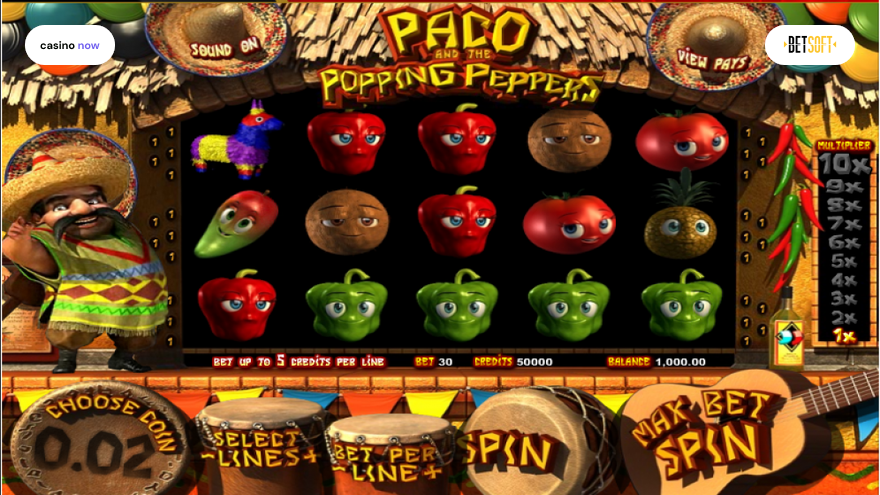 Paco and the Popping Peppers, Betsoft, RTP 94.00, Max Bet , Min Bet