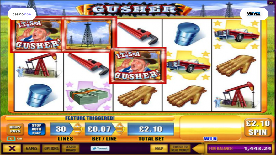 The Gusher, WMS, RTP 94.56, Max Bet , Min Bet